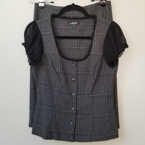 A. Byer Plaid Suit: Button Down Top and Midi Skirt